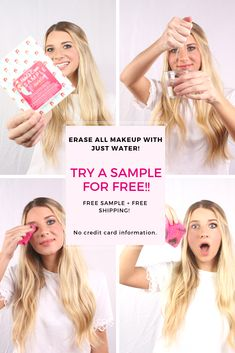 FREE Sample + FREE Shipping! Try it before you Buy it! While supplies last. One per customer. U.S. Only. Order now! Makeup Eraser, Makeup Wipes, Instagram Handle, Waterproof Mascara, Free Samples, Makeup Remover, Sensitive Skin, Hair Beauty, Tutorials