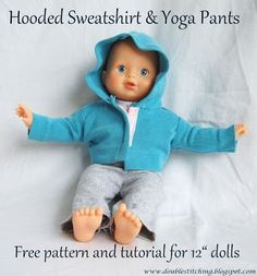 Hooded Sweatshirt and Knit Yoga Pants for 12″ Doll Hi Naptime Crafters readers!  I'm so thrilled to be here with you today participating in the Dressing Up Dolly series!  My name is Amanda and I blog over at Double Stitching.  My hubby and I make our home in the midwest and we are parents to identical twin girls who will soon be turning 3.  The girls