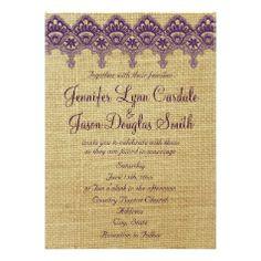 Burlap Purple Damask Lace Wedding Invitations