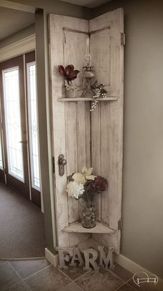 DIY Distressed Wood Built-in Corner Shelf