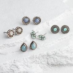 One of my favorite discoveries at WorldMarket.com: Silver, Pale Blue and Mint Stud Earrings Set of 5