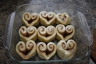 Heart-shaped Cinnamon Rolls.  Yum and easy.  #hearts