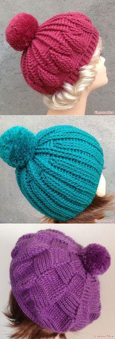 Crochet beanie winter yarns Ideas for 2019 Bonnet Crochet, Crochet Beret, Crochet Cap, Free Crochet, Knitted Hats, Loom Knitting, Baby Knitting, Knitting Patterns, Crochet Patterns