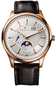 Zenith Captain Moonphase Silver Dial 18kt Rose Gold Black Leather Mens Watch