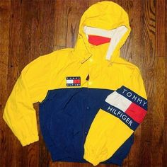 90's Tommy Hilfiger Jacket with Hood ❤ liked on Polyvore featuring outerwear, jackets, yellow jacket and hooded jacket