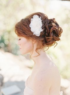Bridal Hair comb, fascinator, Chiffon Petals, Floral, Pearls - Style 202  And on a redhead bride! :)