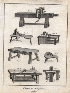 """Diderot's Encyclopdie - """"CABINETRY MARQUETRY TOOLS - Plate 1"""" 1751"""