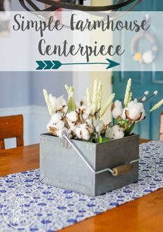 This simple farmhouse centerpiece is the perfect combination of rustic galfvinatzed metal, wood and flowers & will look great with any table! Our Three Peas