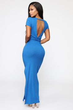 Available In Royal And OrangeOpen Back Maxi DressShort SleeveBack Knot Rayon Spandex Open Back Maxi Dress, Summer Fashion Outfits, Women's Fashion, Fashion Nova Models, Silver Dress, Cut And Style, Short Sleeve Dresses, Formal Dresses, Mojito