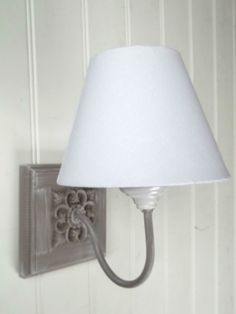 French Shabby Chic Washed Grey Vintage Style Wall Light WITH LINEN LAMPSHADE