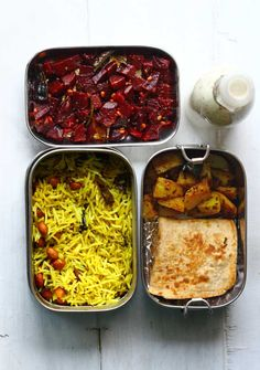South-Indian flavors for the office lunchbox!! Lemon Rice, Beetroot Poriyal, Potato Masala and Paratha. With buttermilk in this cute little bottle. funfoodfrolic.com