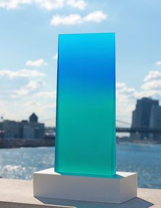 """Sculptures   Eric CahanAqua and Turquoise wedge Cast urethane resin and softouch urethane paint fused to marble dust and resin base  21 """"x 5″ x 12.5″"""