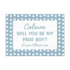 Will You Be My Page Boy Blue Stars Personalized Invitations