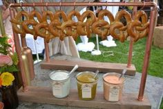 Wedding Catering Trends: 4 Food Bar Types You Need To Try: Pretzel Bar Catering Display, Catering Food, Wedding Catering, Catering Ideas, Wedding Reception, Wedding Venues, Rustic Wedding, Catering Recipes, Catering Events
