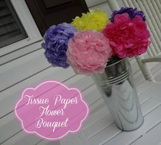 Tissue Paper Flower Bouquet #craft - great for a Mother's Day gift!