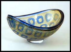 """Ravenna"" bowl in blue and amber glass with red fragments, 1960s. Engraved ""Orrefors Sweden Ravenna 279 Sven Palmqvist"""