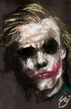 """""""Why are you so serious?"""" The movie Dark Night is my favorite movie. I liked Joker rather than Batman. When Joker said """"Why are you so serious"""" I felt this movie is going to be famous. Der Joker, Joker Art, Comic Books Art, Comic Art, Joker Kunst, Joker Painting, Fantasy Anime, Heath Ledger Joker, Creation Art"""