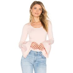 Elizabeth and James Willow Bell Sleeved Top ($325) ❤ liked on Polyvore featuring tops, fashion tops, flared sleeve top, pink top, elizabeth and james top, stretchy tops and stretch top