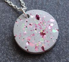 Pink necklace  concrete jewelry  pink glitter  unusual
