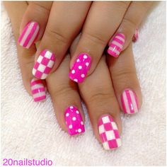 Pink and white mixup nail art design (dots, stripes, checkerboard)