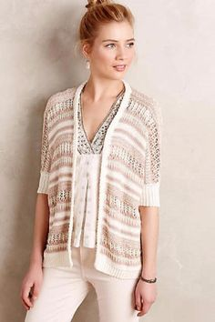 NEW ANTHROPOLOGIE SZ XS/S NEW $128 Pointelle Cocoon Cardigan Ivory Metallic NWT #Anthropologie #Cardigan #Work
