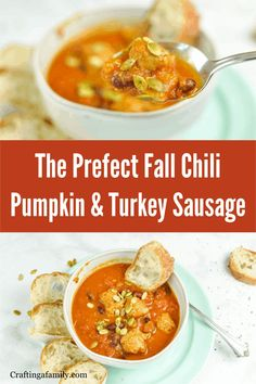 Make a big batch of Healthy Chili for this fall. Pumpkin and turkey sausage. Your family will love delicious pumpkin chili with turkey sausage. You will love all the vegetable goodness packed in the pumpkin and the kidney beans. Simple to put together, and quick to cook you will have dinner on the table in no time. Fall Dinner Recipes, Dinner Recipes Easy Quick, Fall Recipes, Pumpkin Chili, Best Pumpkin, Healthy Chili, Turkey Sausage, Kidney Beans, Pumpkin Recipes