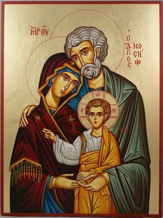 Hand-painted icon of the Holy Family (Saint Joseph, Virgin Mary, Jesus Christ) Religious Images, Religious Icons, Religious Art, Jesus Mary And Joseph, St Joseph, Christian Images, Christian Art, Monastery Icons, Immaculée Conception