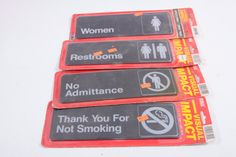 Vintage Public Restroom Signage Lot - Signs. Business Items - No Smoking - Still in package - Visual Impact - No admittance by ThePinkRoom
