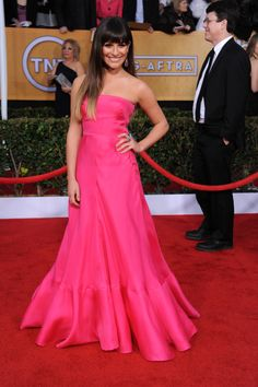 Lea Michele arrives at the 19th Annual Screen Actors Guild Awards at the Shrine Auditorium in Los Angeles on Jan. 27, 2013.