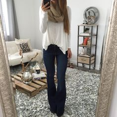 Fashionista Outfits Tucked in loose white top, scarf & dark flare jeans Earthworms In The Garden / E Flare Jeans Outfit, Jeans Outfit Winter, Fall Winter Outfits, Outfits With Bootcut Jeans, Jean Outfits, Casual Outfits, Cute Outfits, Fashion Outfits, Girly Outfits
