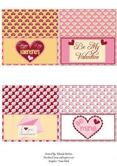 Valentine Bag Toppers on Craftsuprint designed by Rhonda Brittain - This is a set of 4 valentine themed bag toppers. add some glorious chocolates to a bag and add the topper by printing on card stock cut and fold in half. Quick and easy gift. - Now available for download!