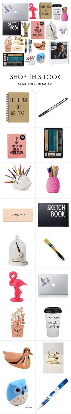 """""""What's on Clary Fray's Desk"""" by isabelle-lightwood-ships-malec ❤ liked on Polyvore featuring interior, interiors, interior design, home, home decor, interior decorating, Design Letters, Imm Living, Sunnylife and Vinyl Revolution"""