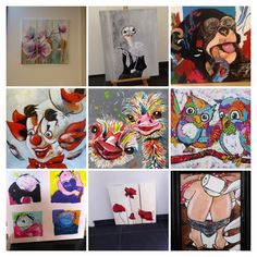 Collage van door mij geschilderde schilderijen