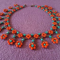 Spring Flower Necklace - Netting, Right Angle Weave, Daisy Chain Stitching Beaded Necklace Patterns, Bracelet Patterns, Beaded Earrings, Beaded Bracelets, Earrings Handmade, Dangle Earrings, Diamond Earrings, Seed Bead Necklace, Diy Necklace