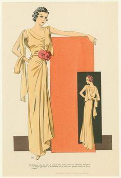 Elégante robe du soir en cloqué mat, jaune. (193-)