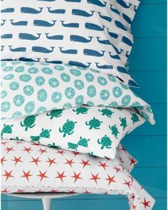 Mini-Print Percale Bedding from Garnet Hill. I purchased the whale sheets for the boat.