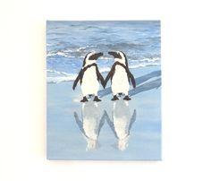 Penguin Gift, Penguins on the Beach, Penguin Decor, Gift for Penguin Lover Ocean Shore Painting, Penguin Wall Decor Penguin Pebble Wall Art Artwork For Home, Beach Artwork, 3d Wall Art, Wall Collage, Painting Of Girl, Beach Girls, Beach House Decor, Pebble Art, Mosaic Art