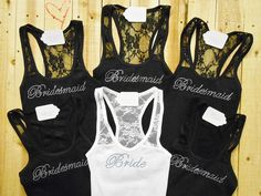 6 Bridesmaid Tank Top. Bride, Maid of Honor, Bridal Entourage, Brides Crew, Mother of the Groom. Wedding Clothing. on Etsy, $83.00
