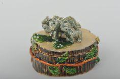 Three Elephants on Tree Trunk Faberge Styled Trinket Box Handmade by Keren Kopal Enamel Painted Decorated with Swarovski Crystals