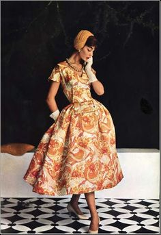 Jean Patou, spring / summer collection 1955, L'Officiel, March 1955 (fabric marketed by Bodin)
