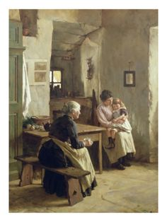 size: Giclee Print: Mother Love by Walter Langley : Fine Art Romantic Paintings, Classic Paintings, Old Paintings, Paintings I Love, Beautiful Paintings, Gauguin, Mary Cassatt, Cottage Art, Art Graphique
