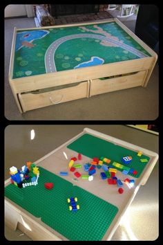 easy DIY double function, double-sided train set and lego table! I want to do this badly!