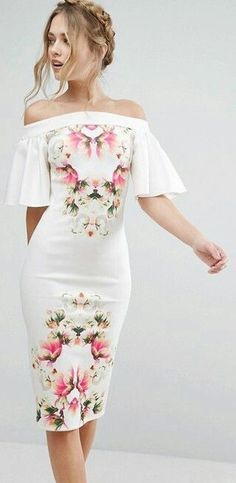 Floral off shoulder bodycon Dress Bodycon Dresses, dress, clothe, women's fashion, outfit inspiration, pretty clothes, shoes, bags and accessories #bodycondress