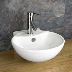 Integral Overflow Modern Round Design Large Handbasin or Small Bathroom /Ensuite Size Countertop or Wall Hung White Gloss Glaze Ceramic Cloakroom Sink, Bathroom Basin, White Bathroom, Small Bathroom, Bathroom Stuff, Bathroom Shelves Over Toilet, Bathroom Wall Decor, Bathroom Ideas, Countertop Basin