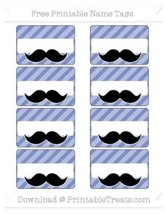 Pastel Dark Blue Diagonal Striped  Mustache Name Tags