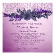 Lavender Vintage Rose Damask Wedding Invite
