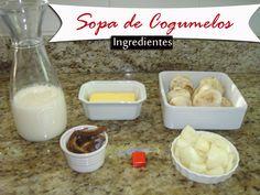 Sopa de Cogumelos  Ingredientes: (rende 4 pratos)    1 bandeja de cogumelos frescos (300g)    30g (mais ou menos uma xícara de chá) de funghi seco    4 xícaras de leite desnatado    1 cebola grande    1 caldo de carne    manteiga    sal e pimenta a gosto