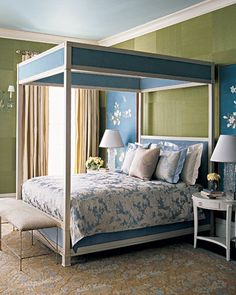 Blue, white, and green bedroom