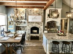 Home Remodeling Wood Love the brick and wood and beams and countertops. Really want a hearth somewhere near the kitchen. To the kitchen renovation that almost killed us in every way possible. New Kitchen, Kitchen Decor, Kitchen Ideas, Rustic Kitchen, Updated Kitchen, Kitchen Layout, Kitchen Inspiration, Kitchen Dining, Kitchen Island