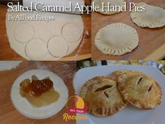 Hand pies are so much fun. You just pick up your own personal mini-pie and munch away. No sharing! And when those flaky pies are filled with cinnamon spiced apples and gooey salted caramel, you Spiced Apples, Caramel Apples, Just Desserts, Delicious Desserts, Cheesecake Recipes, Dessert Recipes, Carrot Cake Ingredients, Banana Cream Cheesecake, Apple Pie Cookies